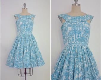 Vintage 1950s Blue Sleeveless Dress with Lace Trim