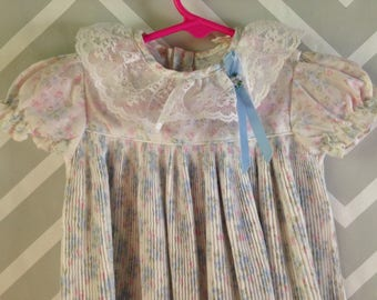 vintage pleated floral dress for baby size 3-6-9 months by roanna