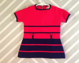 vintage orangey-red and navy mod mini dress for baby by hudson's size 1-2 years / 12-18-24 months