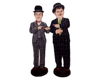 Laurel and Hardy Hand Painted 2D Art Figurines