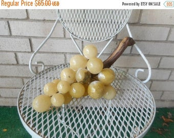 """Vintage Large Cluster of Alabaster Grapes with Wood Stem Italy 15"""""""