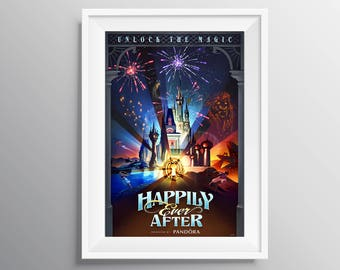 Happily Ever After Poster Print, Magical wall decor, Fireworks poster, Fireworks Display, Wall Decor, Cinderella Castle, Main St Fireworks