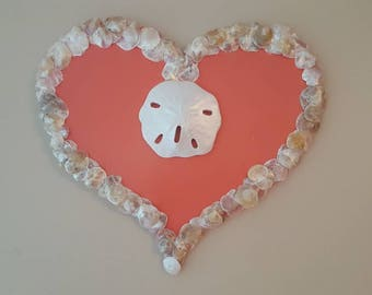 "One of a Kind ""My Heart is at the Beach"" Hand-Cut Wood Wall Hang, with hand collected Carolina Jingle shells!"