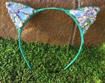 SALE Ready to Ship Mint Diamond Kitty Cat Ears Wire Headband jewels LIMITED