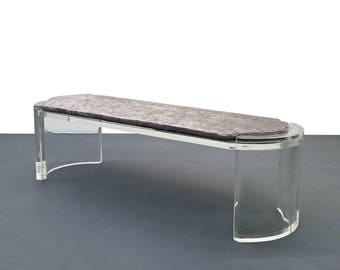 Thick Lucite Mid Century Bench Table by Karl Springer