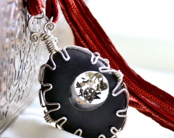 Sterling Silver Necklace- Steampunk Necklace- Beach Stone Necklace- Wire Wrapped Necklace- Red Silk- Resin Jewelry- OOAK- Black Stone