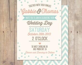 SUMMER SALE Rustic Vintage Mint Peach Plum Teal Wedding Invitation Printable or Professionally printed Cards
