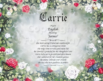 Reserved for CarrieFIRST NAME origin and Meaning Gift Keepsake and Remembrance.