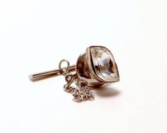 Vintage Tie Tack Clear Rhinestone Silver Safety Chain