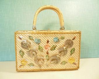 Mid Century  Wicker Handbag - Seashell Purse - Made In Hong Kong - Vintage 1960s