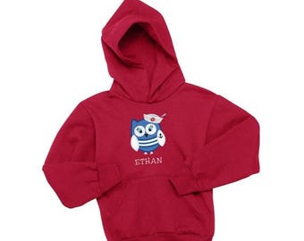 SALE Nautical Hoodie for Toddler, Owl Applique Hoodie, Sailor Shirt, Cute Owl Shirt, Owl Embroidery, Personalized  Shirt, Personalized Hoodi