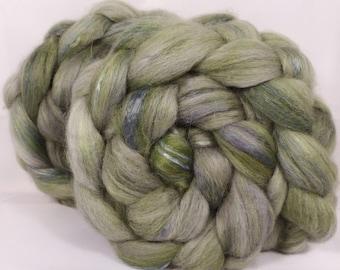 Batt in a Braid #20 - Lichen -( de-haired llama/ Corriedale/ mul. silk,/Faux Cashmere )( 30/30/30/10)-  ( 4.7 oz.)