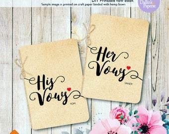 Personalized Wedding Vow Books, Printable vow books, DIY wedding vow books, His vows, Her vows, Wedding printables SALE