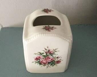 Vintage Kleenex/Tissue Box  Cover,Athena,Floral,Porcelain