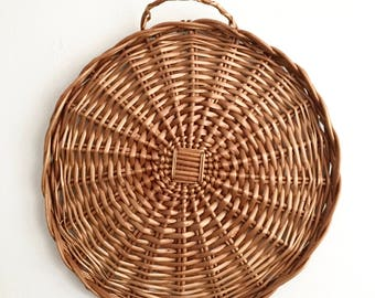 Large Vintage Round Wicker Tray / Boho Wall Hanging
