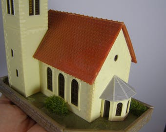 Miniature Bavarian Church with Onion Dome.  Start of Chalet Christmas/Snow/Ski/German Winter Mountain Village.