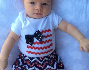 4th of July Outfit, 4th of July Baby Girl Outfit, 4th of July Baby Outfit
