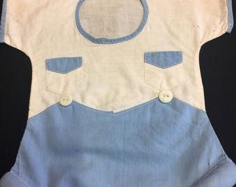 Hand Made Blue and White Overalls