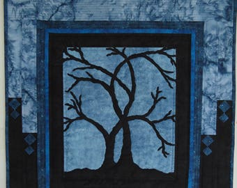 Custom Quilted Wall Hanging, Silhouette Tree for Averee
