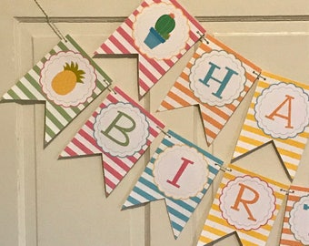 Sample Sale - SIESTA TO FIESTA Happy Birthday or Baby Shower Party Banner - Pink Orange Yellow - Party Packs Available