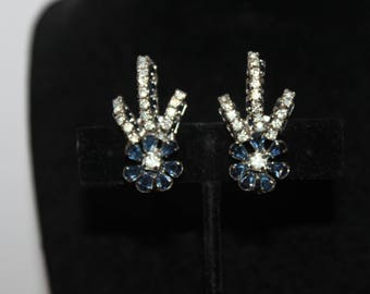 1960 Denim Blue & White Rhinestone Clip On Earrings