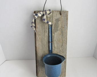 Vintage Rustic Wood Enamelware Ladle Wall Decor Distressed Wood Blue Scoop