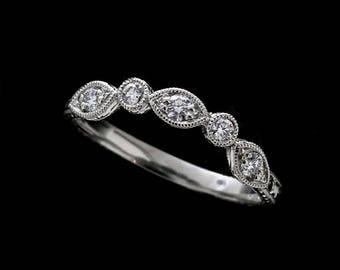 Diamond Curved Wedding Ring, Hand Engraved Contour Wedding Ring, Less Then Half Way Marquise Shape Wedding Band, Antique Style Gold Band
