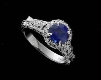 Medium Vivid Blue Sapphire Diamond Engagement Ring, Vintage Style 14k Gold Halo Proposal Ring, Gold Filigree Hand Engraved Engagement Ring