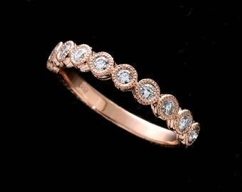Bezel Set Diamond Wedding Ring, Hand Engraved Half Way Wedding Band, Vintage Antique Style Band, Rose Pink Gold Natural Diamonds Band 3mm