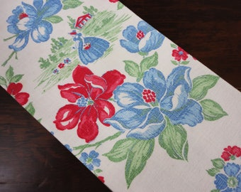 Magnolia Flowered Kitchen Towel  Crinoline Lady  Cotton  Blues Reds