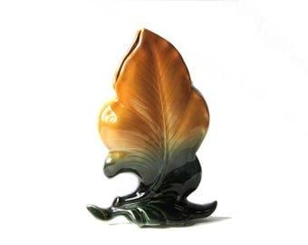Hull Leaf Vase Mottled Orange and Green 1950's Art Novelty Line Collectible Pottery