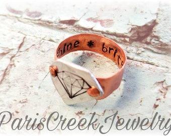 Diamond Ring, Handstamped, Shine Brite