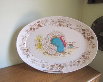 Attractive Vintage Thanksgiving Platter.Apollo Ware Melmac.Thanksgiving Table  Decor.Turkey Decorations.Thanksgiving
