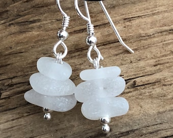 Sea glass jewelry- White Sea glass earrings