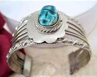 Turquoise Scarab Bracelet - Egyptian Revival - Silver Tone Cuff