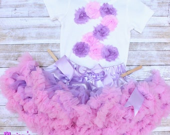 Pink and Lavender Pastel Baby Girl First Birthday Outfit/ Unicorn Princess Birthday/ Flower Onesie and Fluffy Skirt/ Birthday Headband
