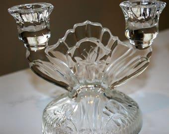 Jeannette Iris & Herringbone Crystal Candlestick Pair EAPG