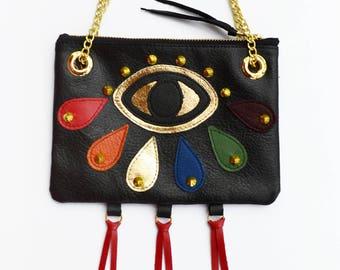 Fine Art Bag, All Seeing Eye, Wearable Art, Rainbow Eye, Evening Bag, chain Purse, Spirituality, LGBT