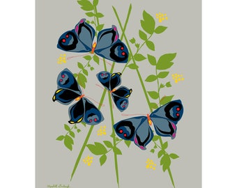 Butterfly Print in Gray & Blue 11 x 14 inches