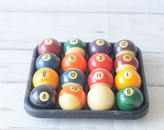 Vintage Pool Balls Belgian Aramith? 2 1/4 inch Billiards Set in Original Box