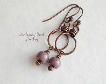 Unusual Mauve Stone Earrings, Mookaite Jasper Dangle, Purple, Southwestern Copper Jewelry