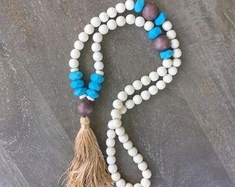 PRICE SLASHED - White Wood Tassel Necklace - LAST one