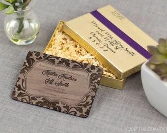 """Solid Wood Wedding Save-the-Date Sample Set - """"Elegant Damask"""" Design Engraved on Walnut - Plus Credit Towards Final Order"""