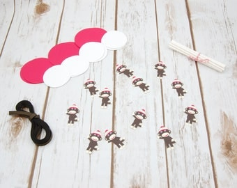 DIY Sock Monkey Themed Birthday Party Cupcake Toppers, Baby Shower Decorations, First Birthday Party