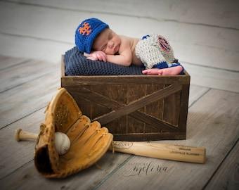 Newborn Baby New York Mets Outfit Uniform Set, Hat, Cap, Pants, Knitted Crochet, Baby Gift, Photo Prop, Baseball, MLB