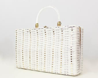 vintage 60s basket purse / 1960s woven plastic straw purse / top handle summer bag / white and gold bag / large handbag