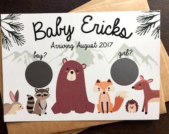 Gender Reveal Scratch-Off Cards- Woodland Animals Scratch Off Gender Reveal Scratch Off Cards