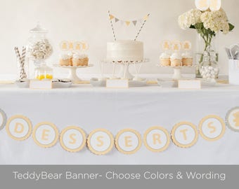 Teddy Bear Baby Shower Banner, Choose Wording and Colors
