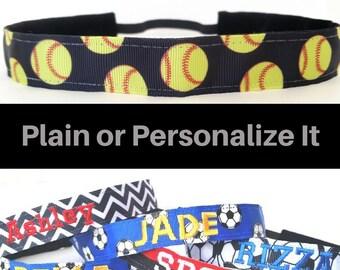 Softball Headband - Black Softball Headband - Personalized Headband - Non Slip Headband - Softball Team Headbands - Softball Team Gifts