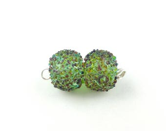 Pair of pale green and frit lampwork glass beads | Earring pair.